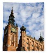 Main Town Hall In Gdansk Fleece Blanket
