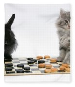 Maine Coon Kitten And Black Rabbit Fleece Blanket