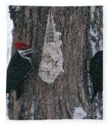 Male And Female Pileated Woodpeckers Fleece Blanket