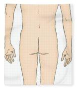 Male, Full Posterior View Fleece Blanket