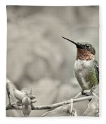 Male Ruby Throated Hummingbird Fleece Blanket