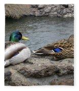 Mallard Duck Couple Fleece Blanket