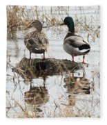 Mallard Ducks Standing On A Rock Fleece Blanket