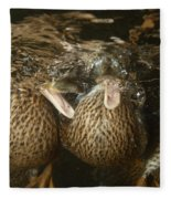 Mallard Ducks Underwater Fleece Blanket