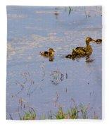 Mama Duck And The Kiddies Fleece Blanket