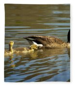 Mama Honker And Goslings Fleece Blanket