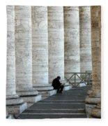 Man And Columns Fleece Blanket