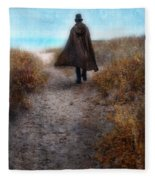 Man In Cape And Top Hat By The Sea Fleece Blanket