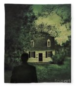 Man In Front Of Cottage Fleece Blanket