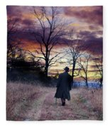 Man In Top Hat With Cane Walking Fleece Blanket
