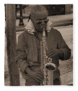 Man Playing His Saxophone Fleece Blanket
