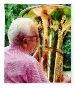 Man Playing Tuba Fleece Blanket