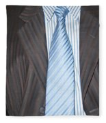 Man Wearing A Suit And Tie Fleece Blanket