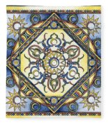 Mandala Of The Sun Fleece Blanket