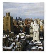 Manhattan View On A Winter Day Fleece Blanket
