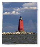 Manistique Lighthouse In Michigan's Upper Peninsula Fleece Blanket