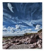 Manorbier Rocks Big Sky Fleece Blanket