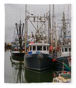 Many Fish Boats Fleece Blanket