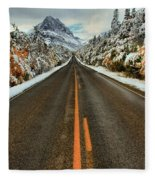 Many Glacier Road Fleece Blanket