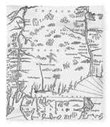 Map: Connecticut, 1661 Fleece Blanket