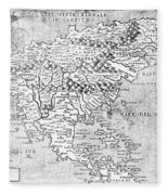 Map Of New France, 1566 Fleece Blanket