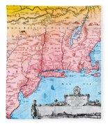 Map Of New Netherland, 1650s Fleece Blanket