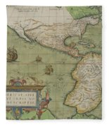 Map Of North And South America Fleece Blanket