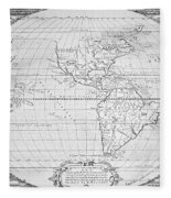 Map Of The New World 1587 Fleece Blanket