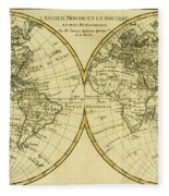 Map Of The World In Two Hemispheres Fleece Blanket by Guillaume Raynal