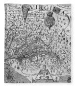 Map Of Virginia, 1624 Fleece Blanket