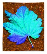Maple Leaf On Pavement Fleece Blanket