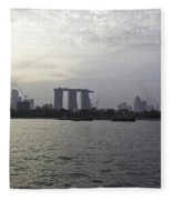 Marina Bay Sands And Flyer Along With Singapore Skyline From The Fleece Blanket