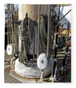 Maritime Pulley And Rope Work Fleece Blanket