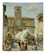 Marketday In Desanzano  Fleece Blanket