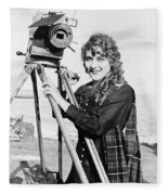 Mary Pickford (1893-1979). Born Gladys Mary Smith. American Actress, With A Movie Camera On A Beach, C1916 Fleece Blanket