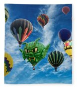 Mass Hot Air Balloon Launch Fleece Blanket