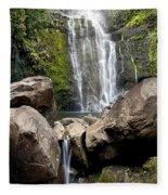 Mauis Wailua Falls And Rocks Fleece Blanket