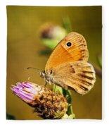 Meadow Brown Butterfly  Fleece Blanket