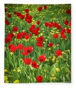 Meadow With Tulips Fleece Blanket