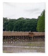 Medard Park Boardwalk Fishing Pier Fleece Blanket