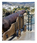Medieval Cannon At The Balcon De Europa Fleece Blanket