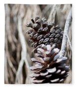 Dry Mediterranean Pinecone With Winter Colors Fleece Blanket