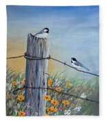 Meeting At The Old Fence Post Fleece Blanket