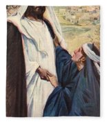Meeting Of Jesus And Martha Fleece Blanket