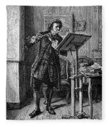 Meissonier: Flute Player Fleece Blanket