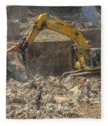 Men At Work Construction Site Fleece Blanket