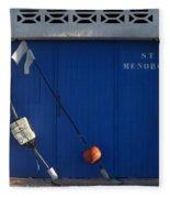 menorca st - A warehouse door in Es Castell Menorca ready to keep local tradicional boats llauts Fleece Blanket