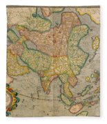 Mercators Map Of Asia Fleece Blanket