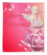 Merry Christmas Cherub And Rose Fleece Blanket