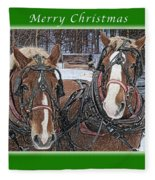 Merry Christmas Horses At Sawmill Fleece Blanket